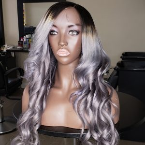 Long Icy ombre purple wig